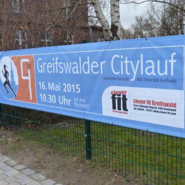 Banner kündigen Greifswalder Citylauf an